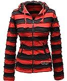 Shopoholic Fashion Women Outstitched Stripy Rib Hoodie [2XL,Red Black]