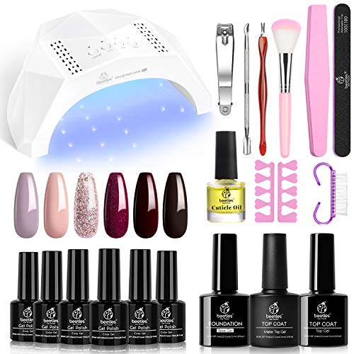 Beetles Pink Purple Gel Nail Polish kit with 48W Nail Lamp Brown Glitter Gel Nail Polish Starter Kit Fall Nail Gel Polish Manicure Set Soak Off Gel Nail Polish Kit Designs DIY Home