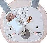 Kuschelige Hase Rund Krabbeldecke Gepolstert Spielmatte Groß Baumwolle Kinderteppich Babyzimmer Dekoration Moderner Kinderteppich 90cm (Rosa, φ90cm)