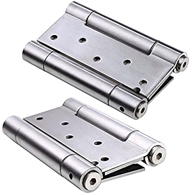 Ranbo 304 stainless steel ball bearing heavy duty Double Action spring loaded door swing hinge,automatic closing/self closer/adjustable tension brushed chrome(Pack of 2) thickness 3 mm