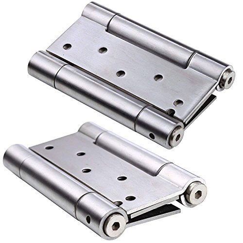 Ranbo 304 Stainless Steel Ball Bearing Heavy Duty Double Action Spring Loaded Door Swing Hinge,Automatic Closing/self Closer/Adjustable Tension Brushed Chrome(1 Pair) Thickness 3 mm (5 inch)