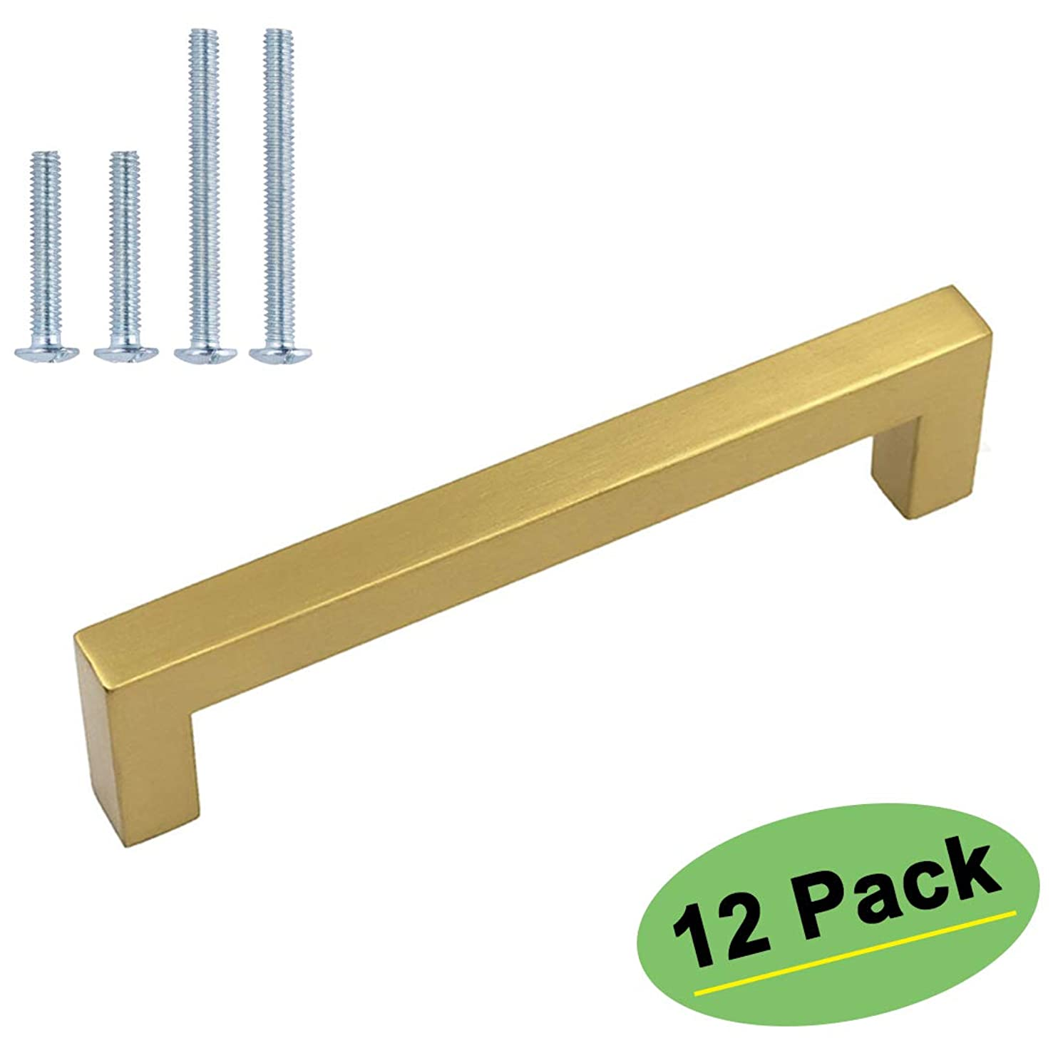 homdiy Gold Drawer Pulls Cabinet Door Handles 12 Pack 4in(102mm) Hole Centers Drawer Handles - HDJ12GD Gold Cabinet Hardware Brushed Brass Cabinet Pulls