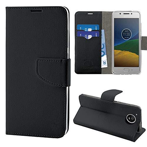 N NEWTOP Cover Compatibile per Motorola Moto G5, HQ Lateral Custodia Libro Flip Chiusura Magnetica Portafoglio Simil Pelle Stand (Nera)