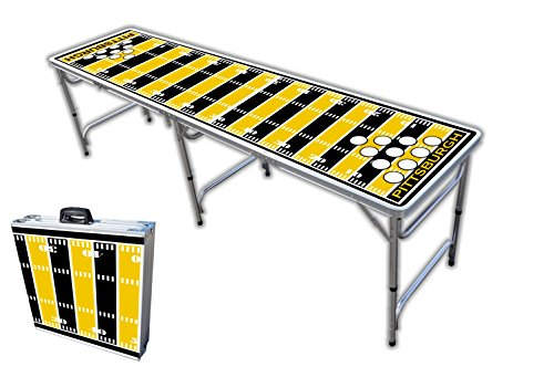 8-Foot Professional Beer Pong Table w/Holes - Pittsburgh Football Field Graphic
