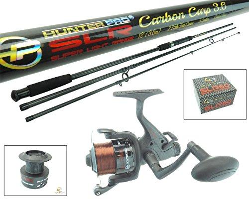 Hunter Pro 12ft Carbon Carp Rod & Bait Free Runner Reel Carp Combo Set SLR Range. Includes Spare Spool