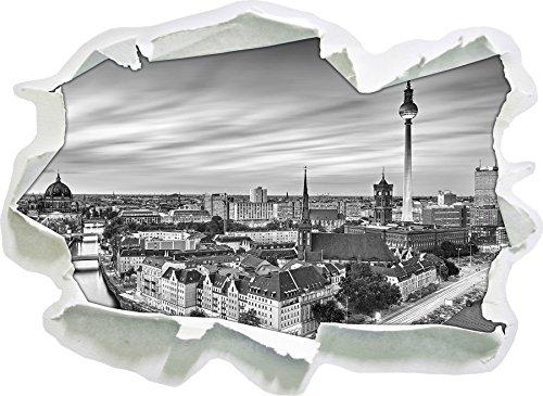 Berlin City Panorama Kunst B&W, Papier 3D-Wandsticker Format: 92x67 cm Wanddekoration 3D-Wandaufkleber Wandtattoo
