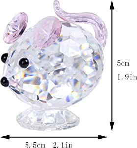 H&D Pink Mouse Tiny Crystal Figurines Clear Glass Art Pet Animals Collectible Gift Home Decor