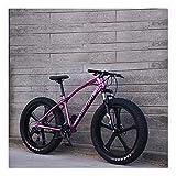 YCHBOS 26 Pulgadas Fat Tire Bike Bicicleta de Montaña para Adultos, 24 Velocidad Beach Snow Cruiser Hombres y Mujeres, Bicis Montaña con Doble Freno de Disco, Suspensión DelanteraB
