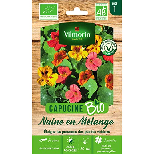 Vilmorin Sachet graines Capucine Naine en mélange Bio - Tropaeolum majus