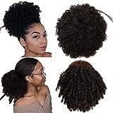 YMHPRIDE 2 pièces cordon de serrage Afro Puff Hair Bun Synthétique Kinky Curly Ponytails Wrap Updo Extensions de cheveux Clip en queue de cheval Postiches pour les femmes noires (2#)