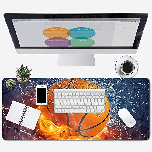 ZYCCW Large Gaming XXL Mouse Pad with Stitched Edge 31.5'x11.8'x0.15' Basketball Fire Mouse Mat Customized Extended Gaming Mouse Pad Anti-Slip Rubber Base Ergonomic Mouse Pad for Computer