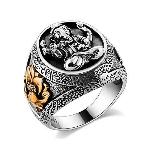 Beydodo 925 Silber Männer Ring Siegelring Indischer Ganesh Elefant Lotusblume Punk Herrenring Silber Partnerring Große 63 (20.1)