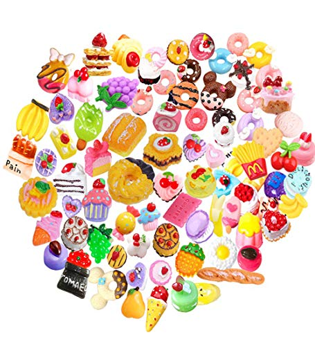 20 pcs Mix Lot 3D Slime Charm Slices Dessert Cake Ice Cream Bread Donut Cookie Candy Resin Flatback Bead Button for DIY Scrapbooking Embellishment, Phonecase Hair Clip Jewelry Craft Accessory (20)