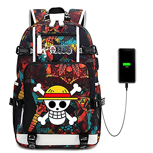 Cool anime Ones Pieces Backpack With USB Port Durable Laptop Book Bag Tourism Outdoor college backpack bookbags for teen boys girls