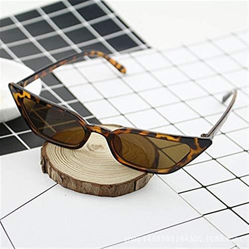 Marco de la moda mujeres de los hombres de la vendimia del gato de los ojos Gafas de sol retro Pequeño UV400 gafas de moda de cuero de lujo de controlador Gafas de sol polarizadas ( Color : Leopard )