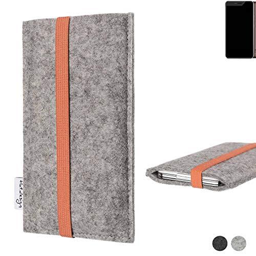 flat.design Handy Hülle Coimbra für Allview X4 Xtreme - Schutz Case Tasche Filz Made in Germany hellgrau orange