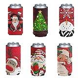Pizding 6 bolsas de cerveza de Navidad fáciles de transportar con soporte estándar, plegables, para bebidas energéticas, cerveza y agua, para fiestas, barbacoas, pícnic, deportes, juego de reno