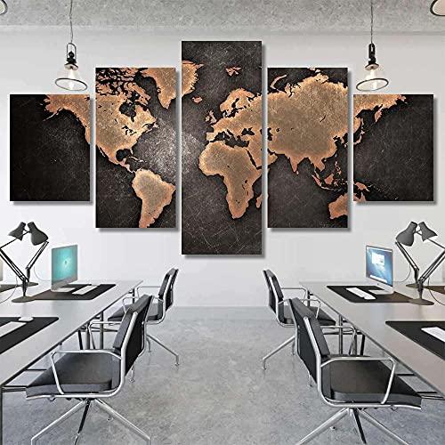 WKXZZS Lienzo Giclée de Pared Art Imagen para decoración del hogar Mapa Retro Negro y Oro Panel de 5 Piezas de Arte Moderno. Ideal para Decorar el salón