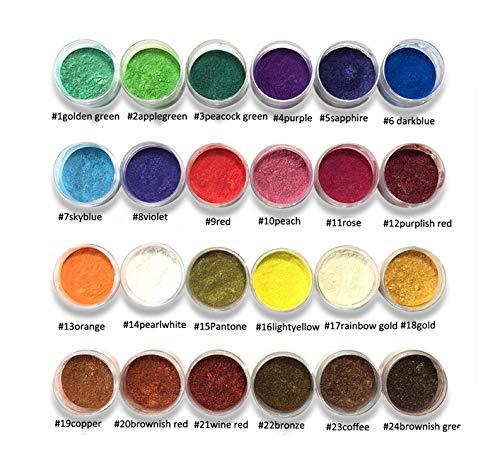 Seifenherstellungskit 10ml Glas 24 Farben Glimmerpulverpigmente ~ Natürliche perlmuttfarbene Glimmerpulver ~ Metallic-Farbstoff für Nagelkosmetik Polierseifenherstellung-18 Gold-,