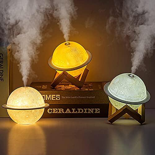 fasloyu 3D Mond Lampe Luftbefeuchter, Multifunktions Mini Luftbefeuchter 3D Mond Moderne Lampe Touch Control & Reise USB Cool Mist Luftbefeuchter Ändern 3 Farben, für Wohnzimmer Schlafzimmer Büro