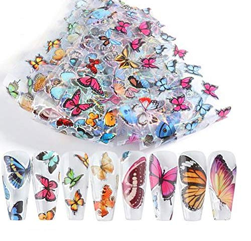 Butterfly Nail Art Stickers Design Foil Decals Transfer Decoration Nail Accessories for Acrylic Nails (Butterfly_8102)
