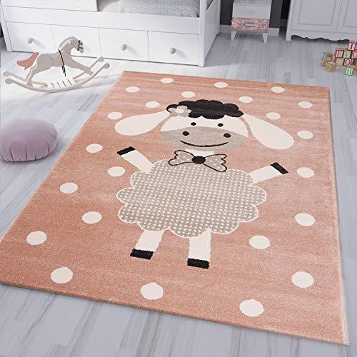VIMODA kinderteppich kinderzimmer Flauschiger Baby Teppich Happy Schaefchen Kinder Jugendzimmer Rosa, Maße:80x150 cm