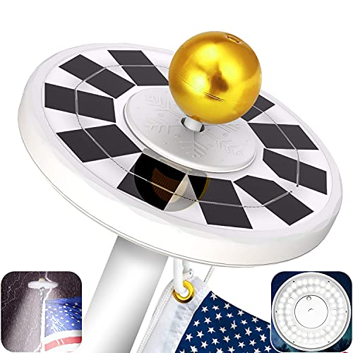 Yakalla 56 LED Solar Flag Pole Light, New Generation IP67 Waterproof 3 Modes Brightness Flagpole Lights Solar Powered for Most 15 to 25 Ft Flagpoles from Dusk to Dawn Auto On/Off at Night