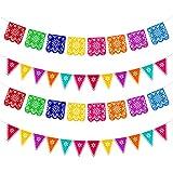 Qpout 4 piezas Banners del Día de los Muertos, colorida Fiesta Mexicana Fiesta Dia De Los Muertos Garland Decoration, Fiesta del Cinco de Mayo Cumpleaños de niños decoración interior al aire libre