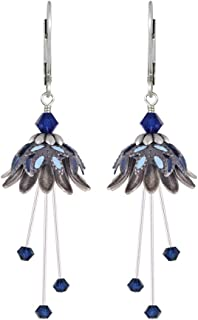 NoMonet Hand Painted Flower Fairy Earrings - Daisy Oracle Earrings - Silver, Navy and Light Blue