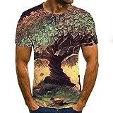 Mr.BaoLong&Miss.GO T-Shirt Imprimé pour Hommes Quatre Saisons Arbre Paysage Impression Numérique 3D T-Shirt à Manches Courtes Col Rond pour Hommes