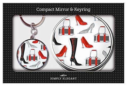 Maranda Ti Chaussures et bottes Miroir compact rond et porte-clés dans une boîte cadeau