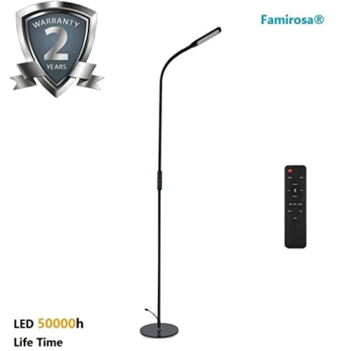 Floor Lamp LED Eye-Care Standing Lamp Remote Control with Brightness Adjustment Knob, Flexible Gooseneck for Living Room Bedrooms Study Reading (5 Color Temperatures, 5-Level Dimmable, Timer Function)