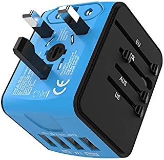 Jollyfit International Universal Travel Adapter 4 USB Charger AC Power Wall Plug US UK AU EU Worldwide 150 Countries with Safe Fuse for Europe Asia Germany France Italy India China Russia American British European Adapter (Sky Blue)