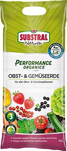 Substral Performance Organics Obst-& Gemüse Erde, Hochwertige Bio Erde für Obst- & Gemüsepflanzen, 10 Liter Sack