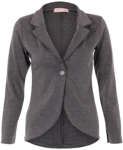 KRISP Chaqueta Mujer Vestir Casual Elegante Básica Blazer Talla Grande Traje Manga Larga Joven, (Carbón (3558), 48 EU (20 UK)), 3558-CHA-20