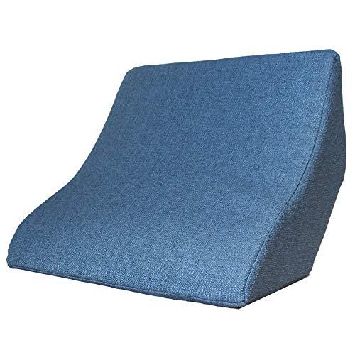 Cojín de lectura y soporte lumbar para una posición óptima al sentarse. Cojín cuña, cojín de espalda para leer, ver la televisión, jugar y relajarse, para cama, sofá y sofá (azul, 52 x 50 x 21 cm)