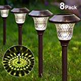 BEAU JARDIN Solar Lights Pathway Outdoor Garden Path Glass Stainless Steel Waterproof Auto On/off...