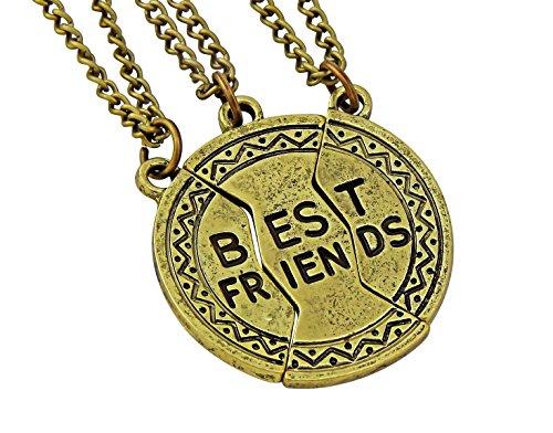 Hanessa meisjes dames sieraden vriendschapsketting 3 kettingen Best Friends ronde bal brons cadeau voor Kerstmis voor je vriendin