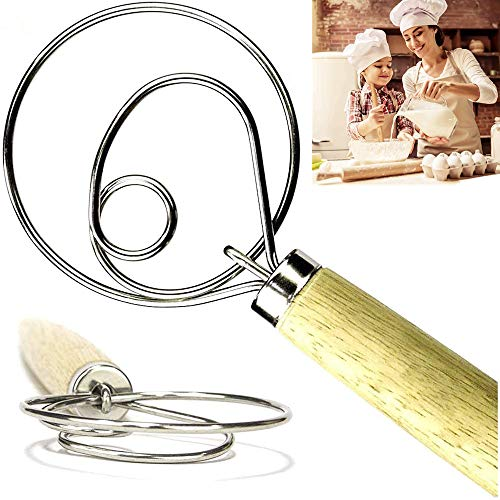 2 Pack Danish Dough Whisk The Original Danish Dough Whisk 13.5'Stainless Steel Dutch Whisk Hand Mixer Bread Dough Whisk Pastry or Pizza Dough - Perfect Baking Tool Alternative to a Blender