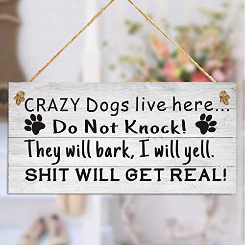 """Uticon - Ciondolo natalizio con scritta in lingua inglese """"Crazy Dogs Live Here"""" (lingua italiana non garantita)"""