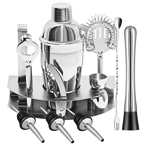 YQQWN Bartender Kit with Stand Bar Set Cocktail Shaker Set for Drink Mixing Bar Tools:Martini Shaker, Jigger, Strainer, Bar Mixer Spoon, Tongs, Bottle Opener | Best Bartender Kit for Beginners,750ML