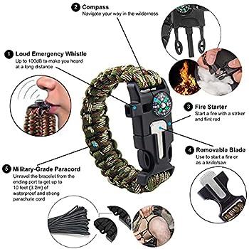 Miyobing Bracelet Paracorde Survie pour Homme Femme,Turban et 2xMilitaire Paracord Bracelet,Kit de Survie avec Boussole intégrée, Allume-feu, Couteau d'urgence et sifflet,Randonneur,Explorateurs