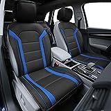 FH Group PU208BLUEBLACK102 Blue/Black Leatherette Car Seat Cushions Airbag Compatible