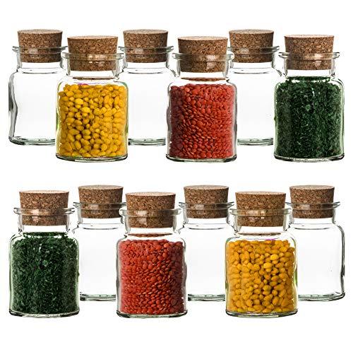 BigDean 12er Set Gewürzgläser mit Korken-Deckel 150 ml Rund - Gewürzdosen aus Glas - Vorratsgläser ideal als Aufbewahrung für Gewürze, Kräuter & Tee