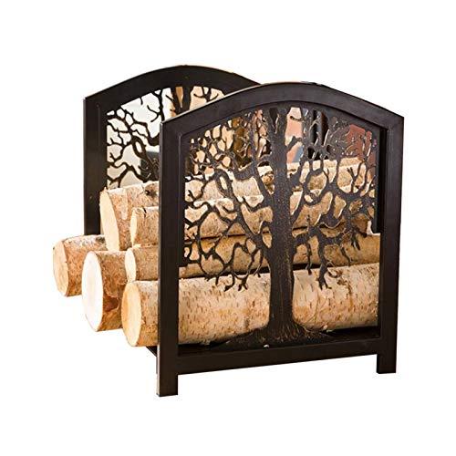 WXQIANG Estante de registro de leña industrial y rústico para la estufa de fogones de la estufa de la estufa, el soporte de la cesta de madera de hierro de hierro negro, 42 × 35 × 40 cm Durable y prot