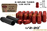 (20) Red 1/2-20' Spline Lug Nuts with Security Socket Lock fits Ford Lincoln Mustang MKS Aviator Ranger