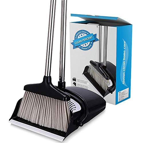 Broom and Dustpan Set Strongest Heavier Duty Upright Standing Dust Pan with Extendable Broomstick for Easy Sweeping Easy Assembly Great Use for Home Kitchen Room Office Lobby