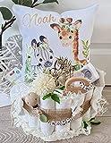 Windeltorte mit Name - Kuschelkissen Giraffe Zebra I Schnullerkette & Greifling - Geschenk, Babyparty, Geburt oder Taufe + auf Wunsch, gratis Grußkärtchen