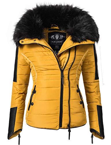 Navahoo Yuki2 Chaqueta de Invierno para Mujer con Capucha de Pelo sintético Negro Amarillo XS