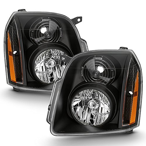 ACANII - For 2007-2014 GMC Yukon XL 1500 2500 [Denali Style] Black Housing Headlights Headlamp Driver + Passenger Side